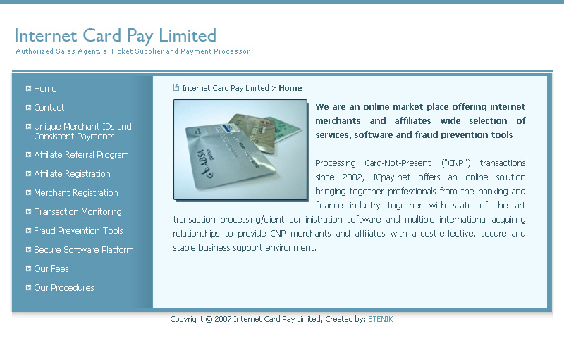 Уеб сайт на Internet Card Pay Limited, Interconsult Int. Ltd. - Web Sites, Stenik
