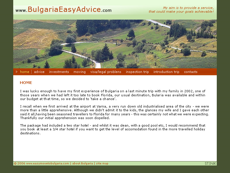 Уеб сайт на Bulgaria Easy Adivce, Bulgaria Easy Advice - Web Sites, Stenik