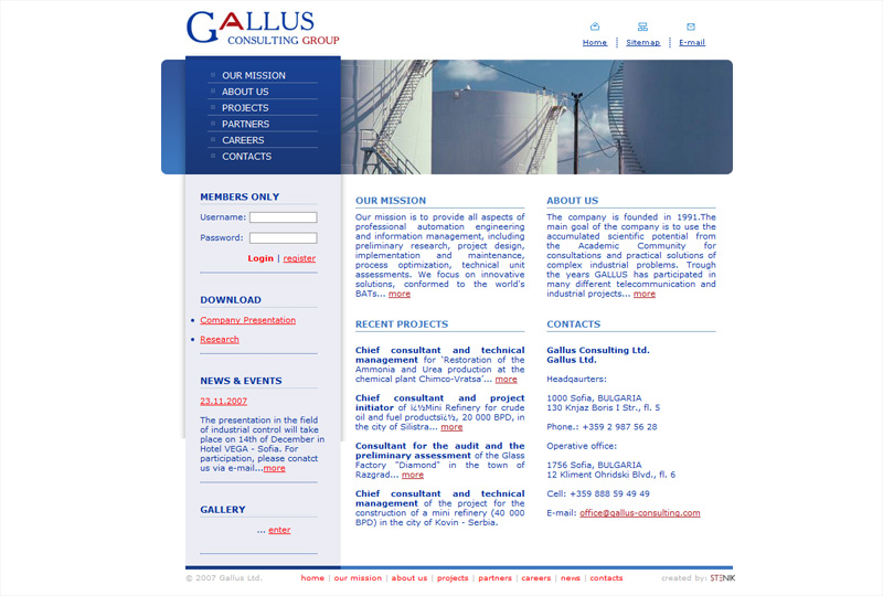 Уеб сайт на Gallus Consulting Group, Gallus Consulting Group - Web Sites, Stenik