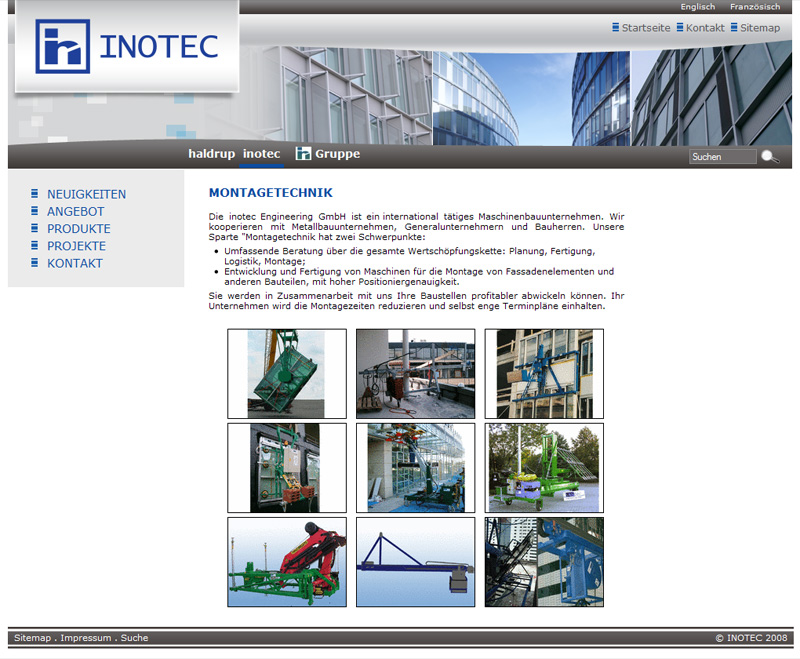 Уеб сайт Inotec Engineering GmbH, Inotec - Уеб сайтове, Stenik