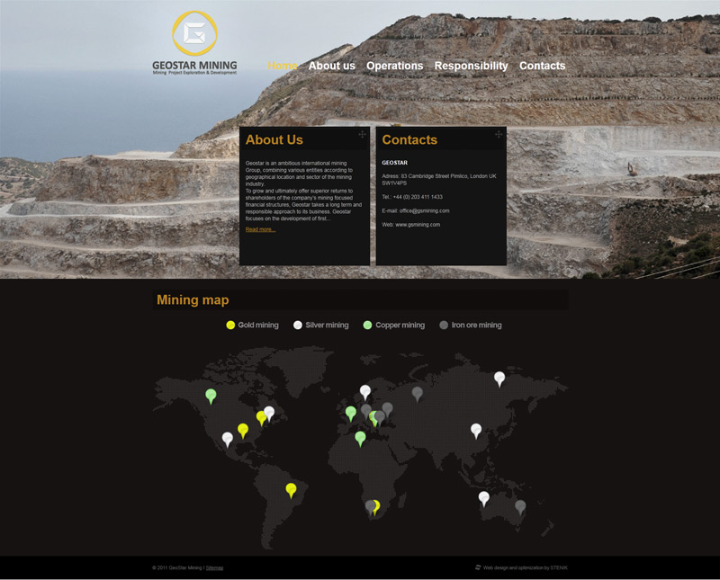 Web site for Geostar Mining, Geostar Mining - Web Sites, Stenik