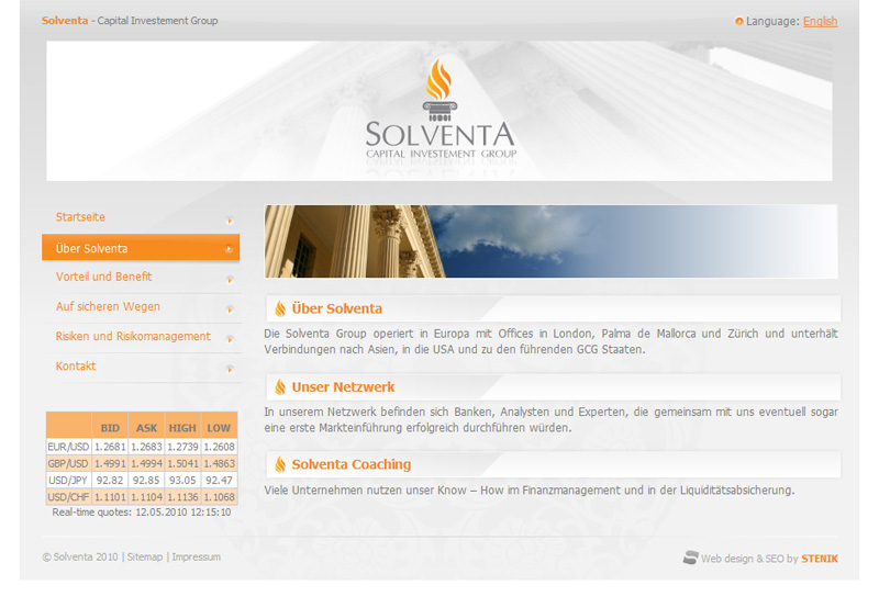 Web site for Solventa, Solventa - Web Sites, Stenik
