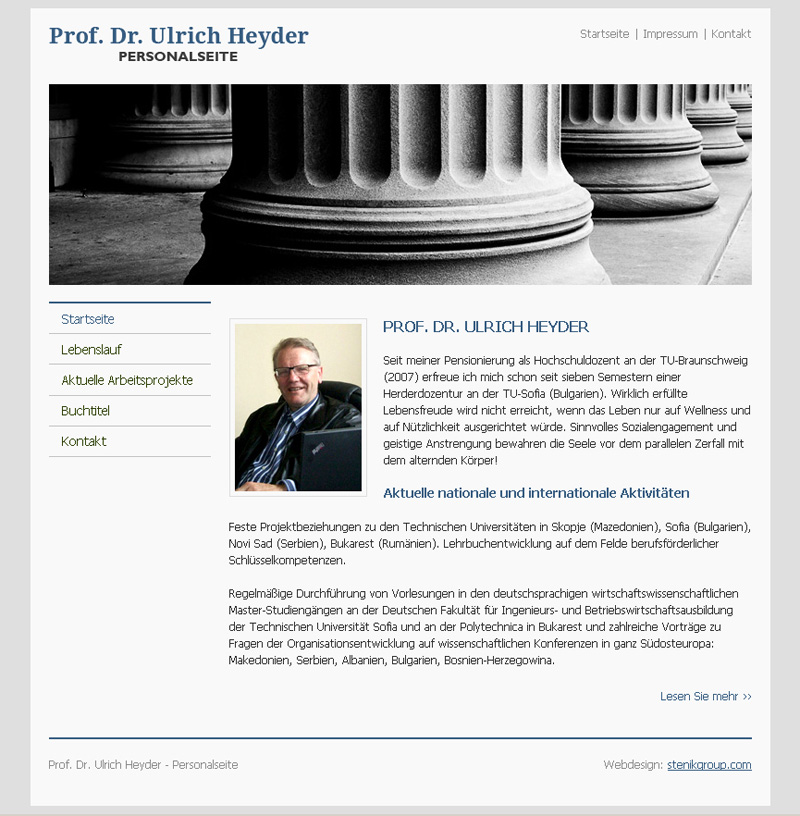 Website for Ulrich  Heyder, Prof. Dr. Ulrich Heyder - Web Sites, Stenik