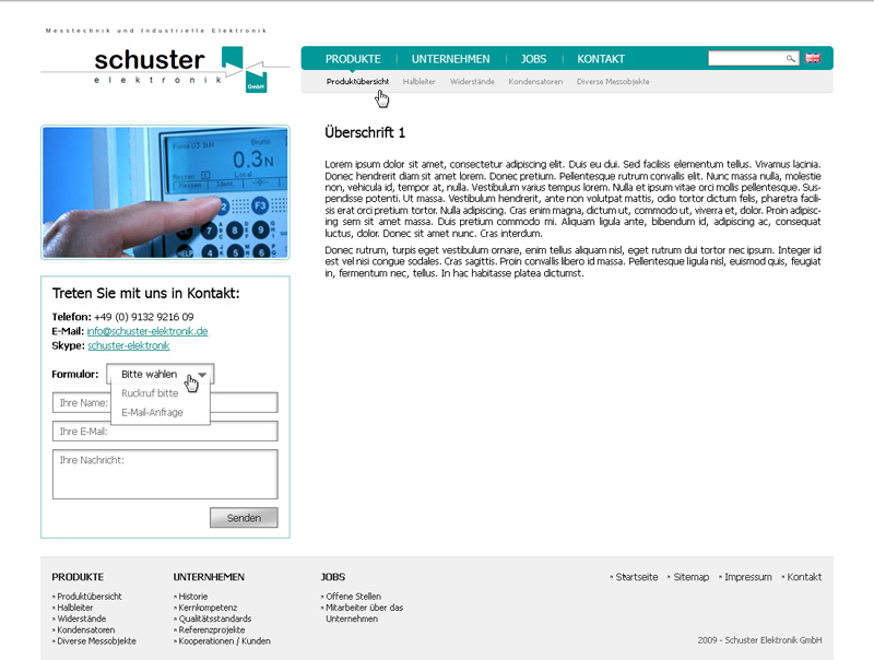 Уеб сайт на Schuster Elektronik, Schuster Elektronik - Web Sites, Stenik