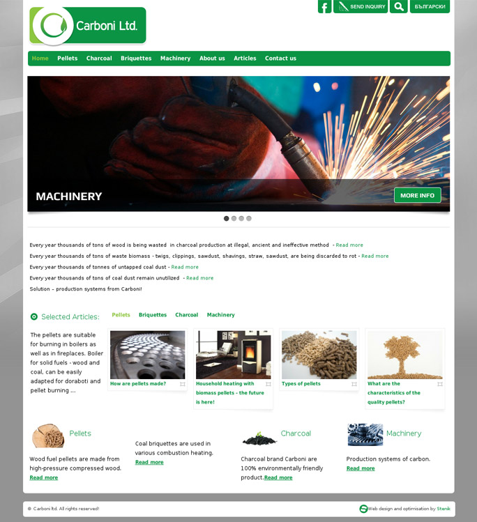 Website for Carboni Ltd., Carboni Ltd. - Web Sites, Stenik