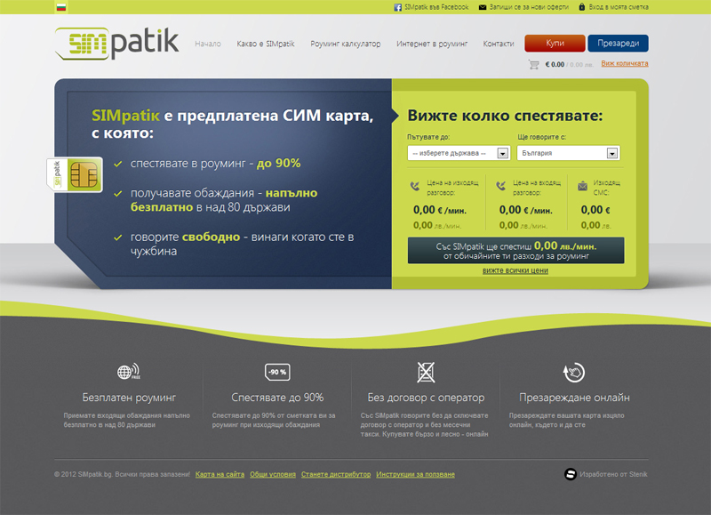 E-commerce website for the sim card SIMpatik, SIMpatik - Online Shops, Stenik