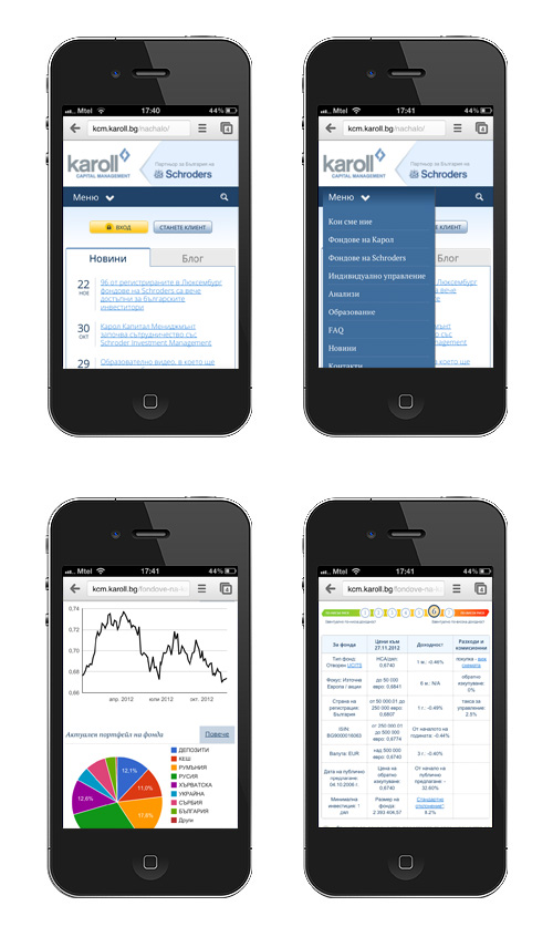Mobile (responsive) website for Karoll Capital Management, Karoll - Mobile applications and sites, Stenik