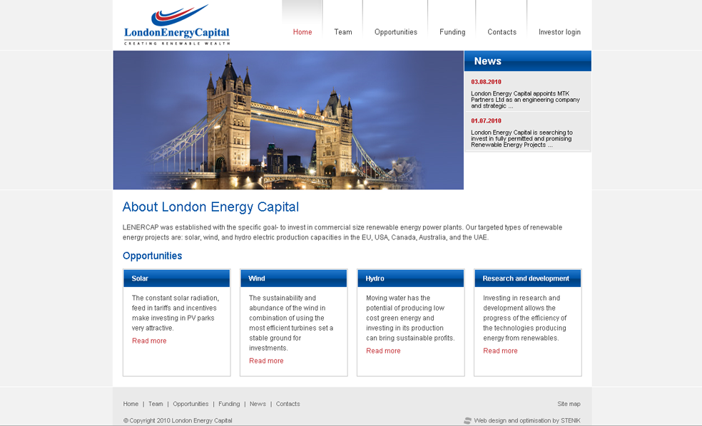 Website for London Energy Capital, LondonEnergyCapital - Web Sites, Stenik