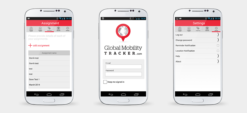 Android and iPhone app Global Mobility Tracker for Taxback.com, Taxback.com - Mobile applications and sites, Stenik