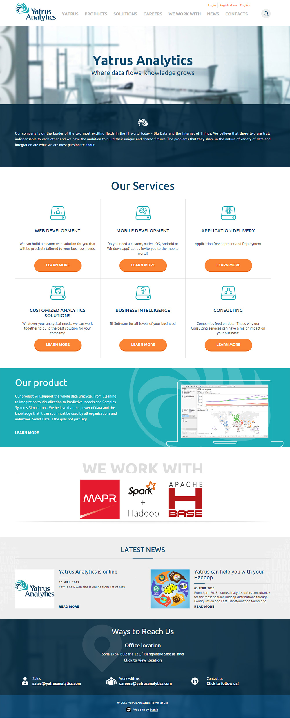 Corporate website for Yatrus Analytics, Yatrus Analytics - Web Sites, Stenik, StenikCMS