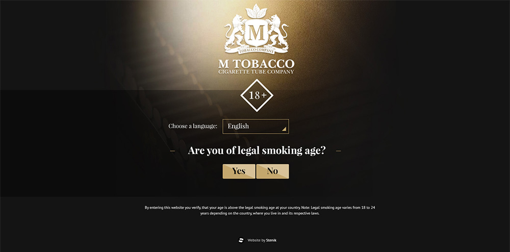 Web site for M Tobacco, M Tobacco - Web Sites, Stenik, StenikCMS