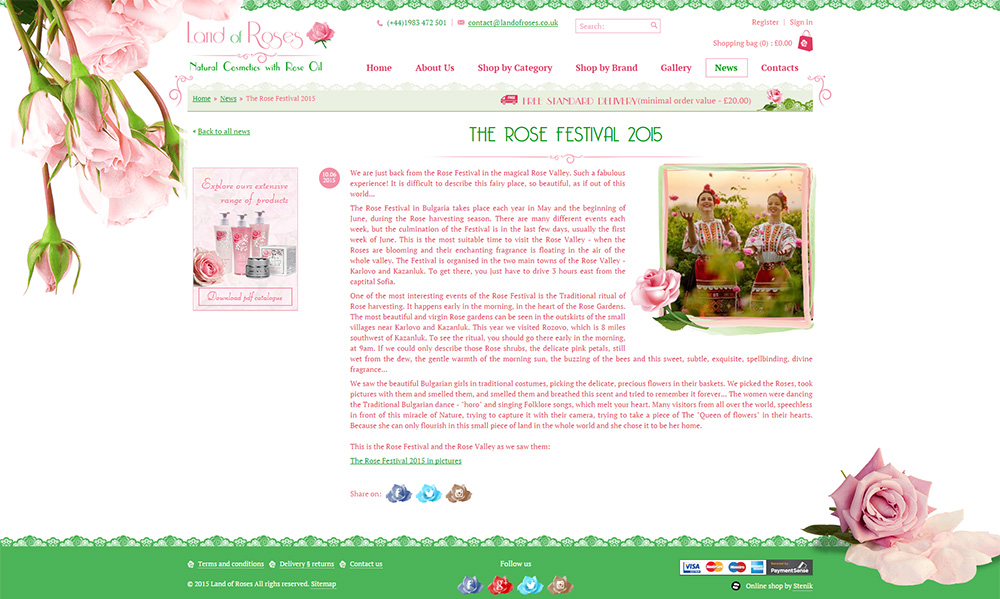 Blog for Land of Roses, Land of Roses - Blogs, Stenik, Magento